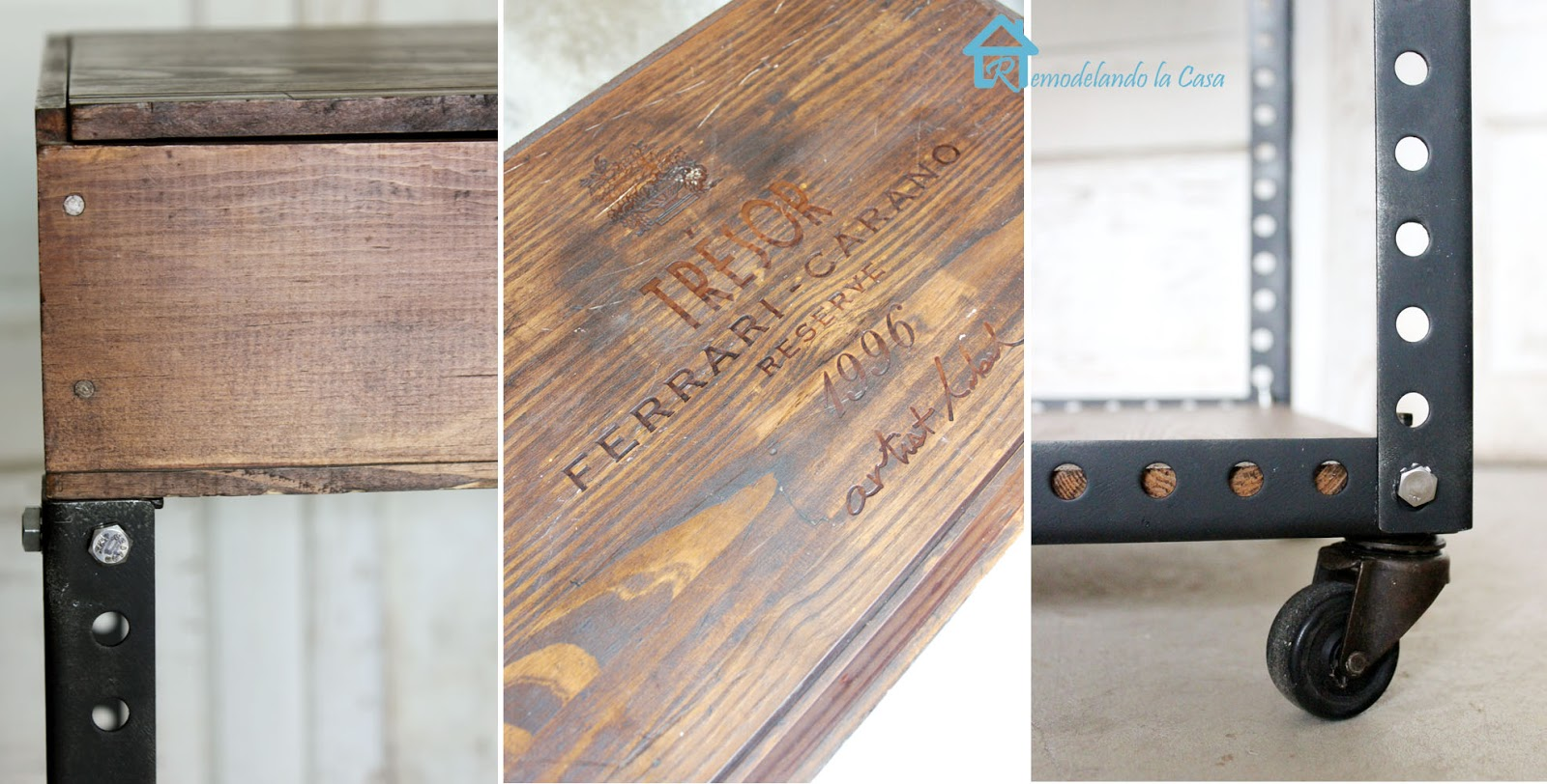 How to build a side table with wooden wine box and metal slats