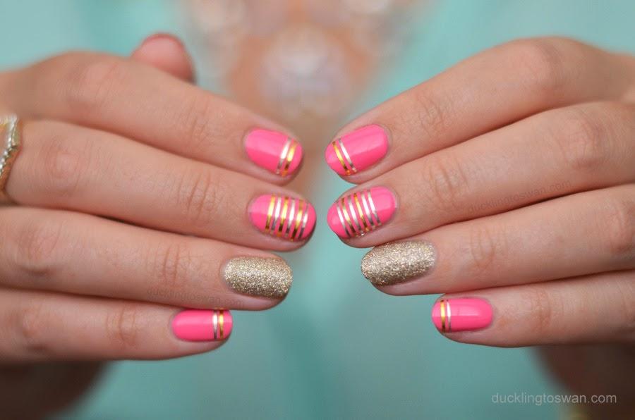Nail Tape Art Pink Gold Silver
