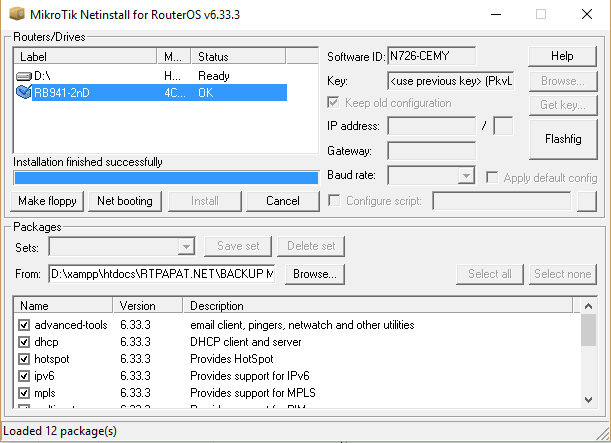 Install ulang + upgrade RB 941-2nd hAP Lite