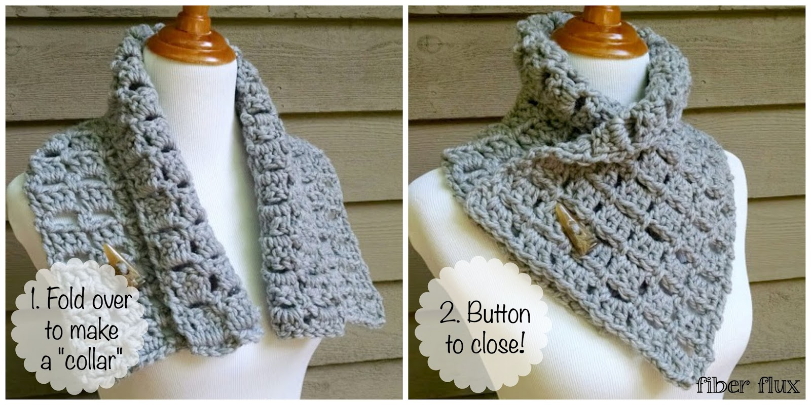 Fiber Flux Free Crochet Pattern Margaret Button Cowl
