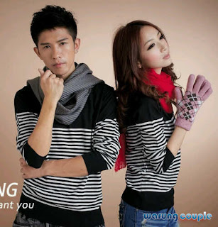 Kaos Couple Salur Combi LP Hitam