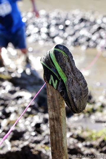Someone lost a shoe in the mud - Hawke's Bay Mud Run, Crownthorpe, a fundraiser for Havelock North Junior Rugby Club photograph