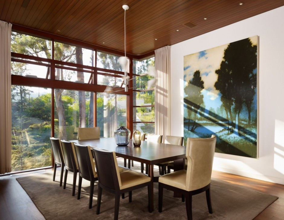 Dining Room With High Ceiling