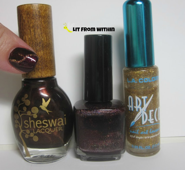 bottle shot:  Sheswai Badass, Glitter Gal Transfusion, and a gold nail art striper