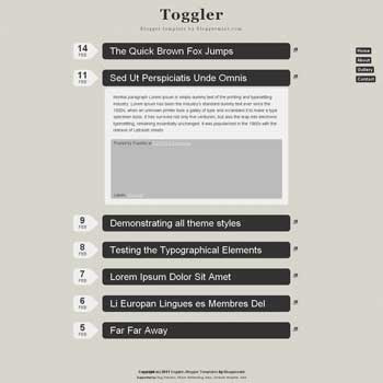 Toggler blogger template. advance style blogger template