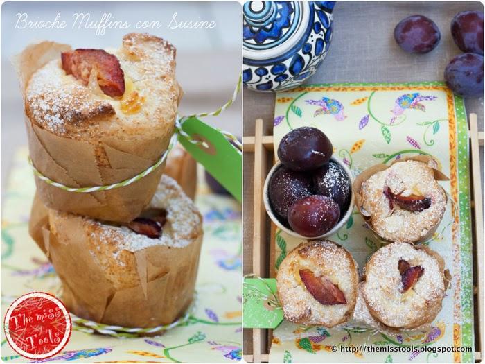 brioche muffins con crema e susine, per quando va cosí cosí... - brioches-muffins with cream and plums