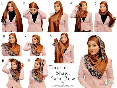 Cara Memakai Shawl Satin Rose Style 3