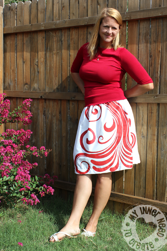 Handpainted Swirl Skirt for Skirt Week