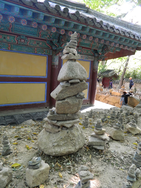 Stacking stones in Bulgoksa Temple in Gyeongju in Korea
