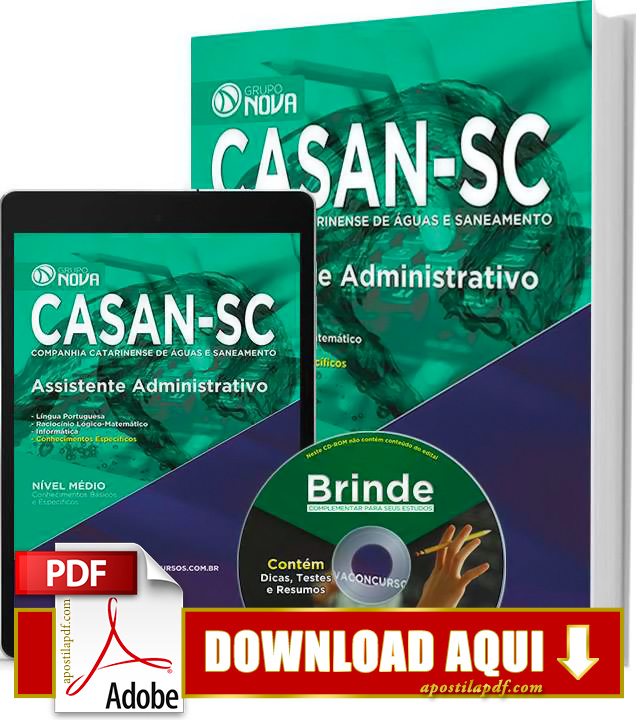 Apostila CASAN SC 2015 PDF Download Grátis Assistente Administrativo