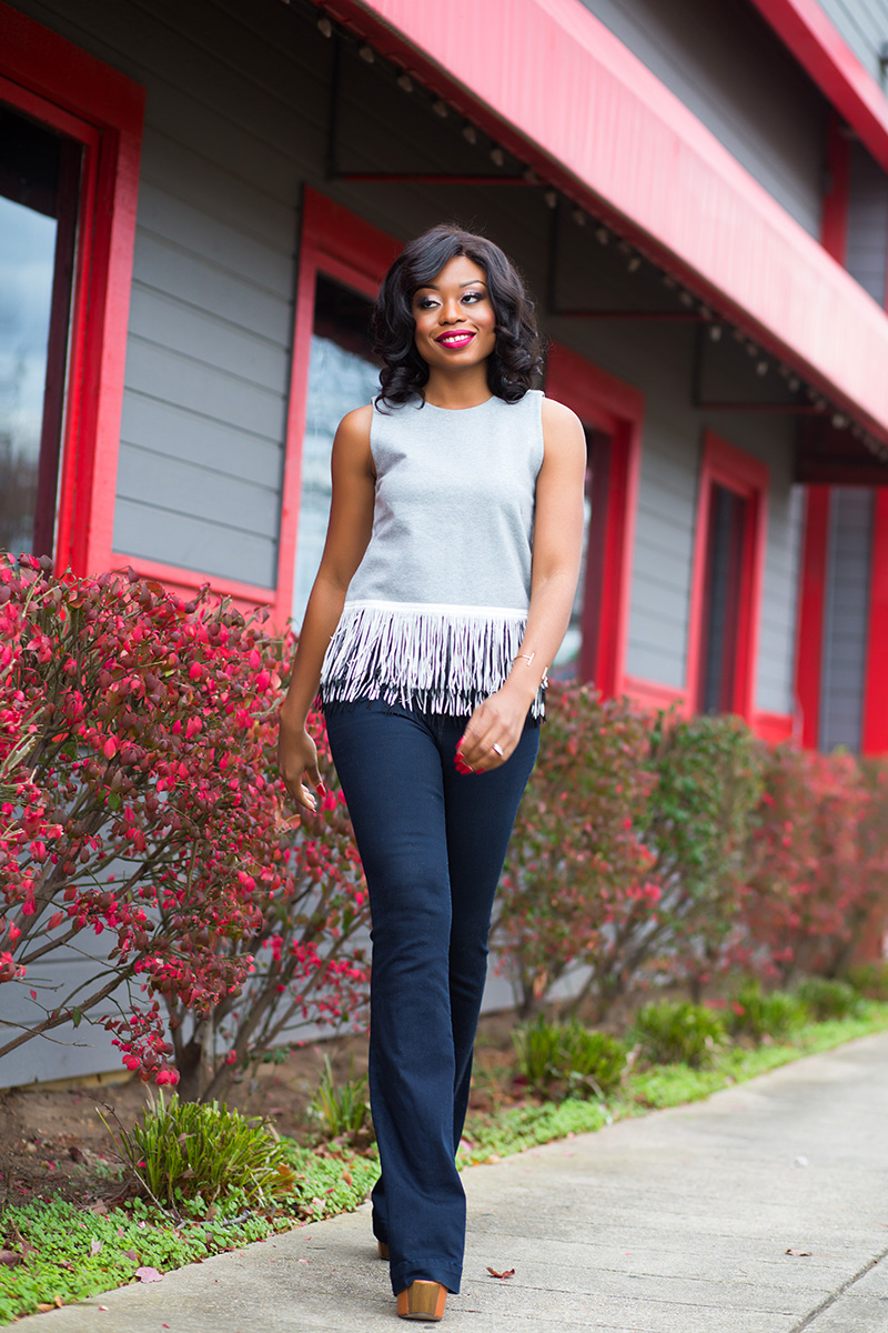 fringe top and flare jeans on www.jadore-fashion.com