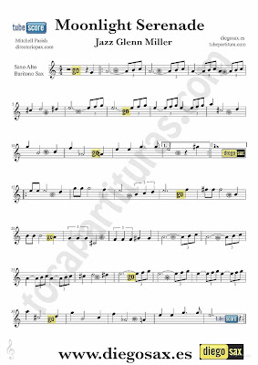 Tubescore Moonlight Serenade Sheet Music for Alto and Baritone Saxophone Glenn Miller Jazz Music Score