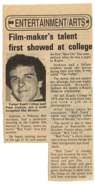 Clipping on Peter Jackson from the Kapiti Observer, 1987