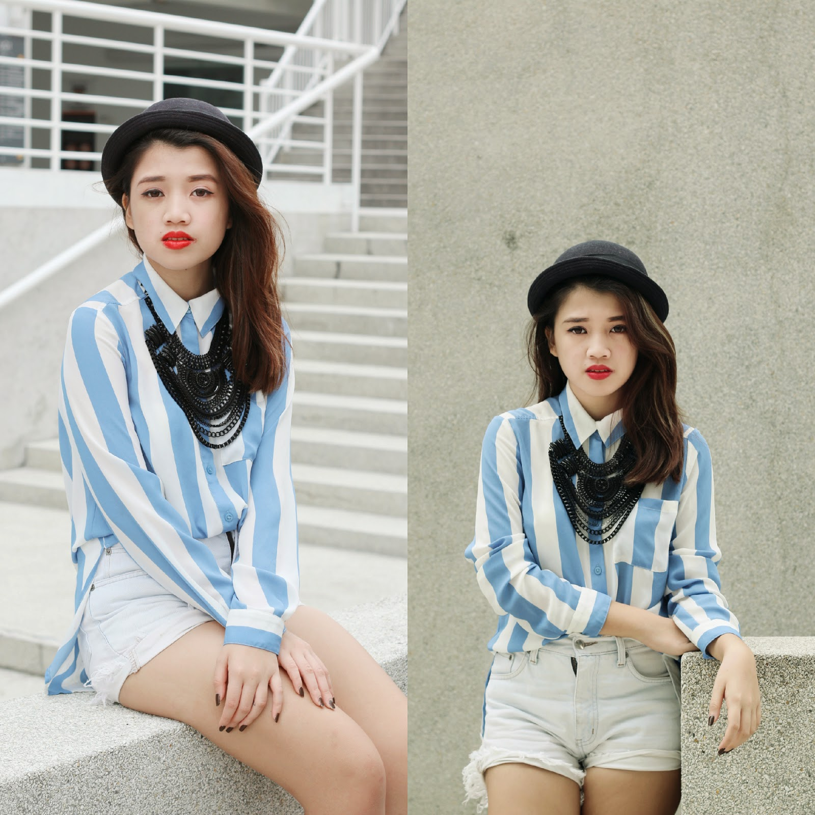 missalvy, blue, stripes, droopy, bowl hat, ootd