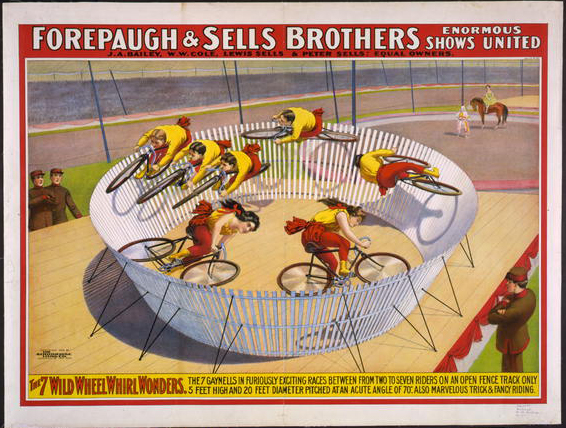 circus, vintage, vintage posters, advertising, retro prints, classic posters, graphic design, free download, Forepaugh & Sells Brothers, 7 Wild Wheel Whirl Wonders - Vintage Circus Poster