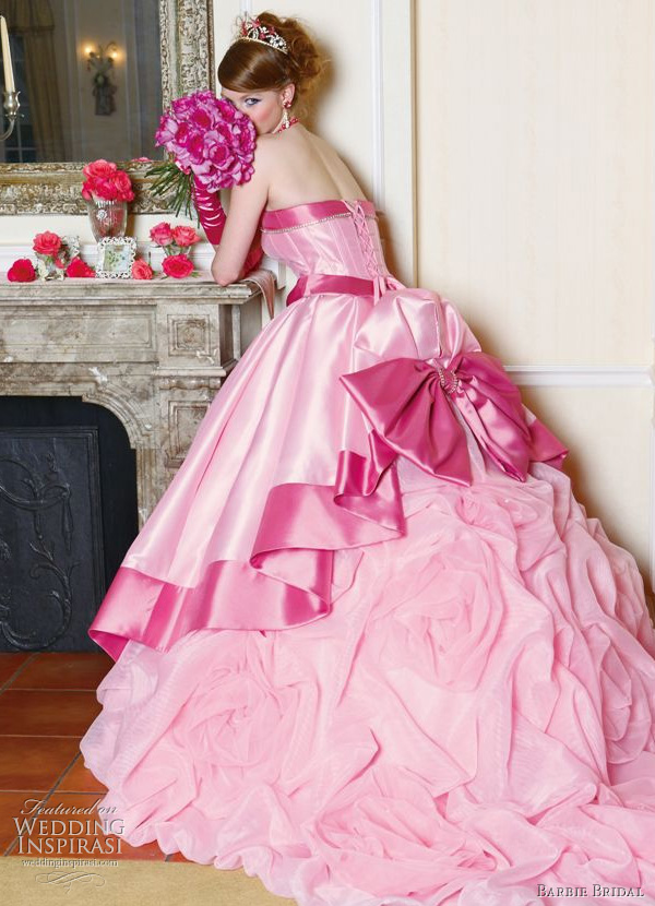 neon pink wedding dress  
