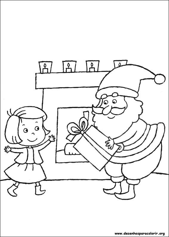 Desenhos Preto e Branco História do Papai Noel  para copiar Colorir