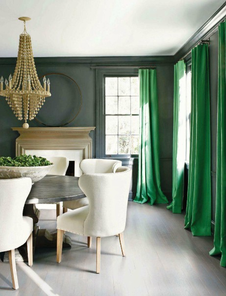 emerald green curtains dining room pantone color of the year