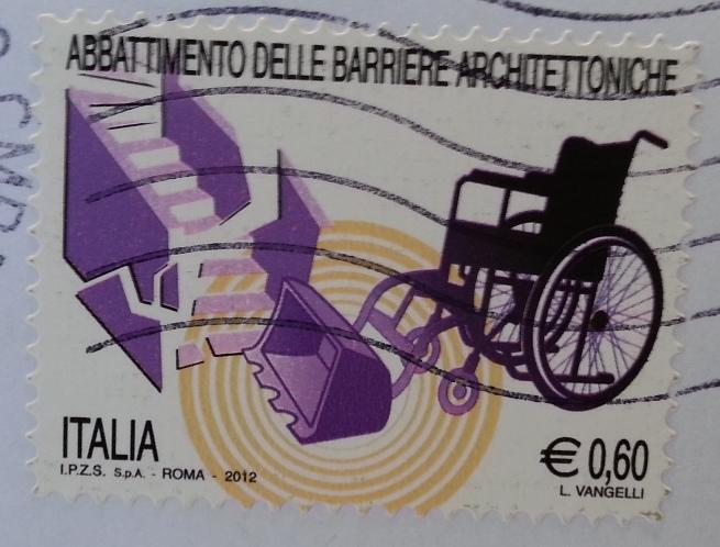 francobollo ABBATTIMENTO DELLE BARRIERE ARCHITETTONICHE