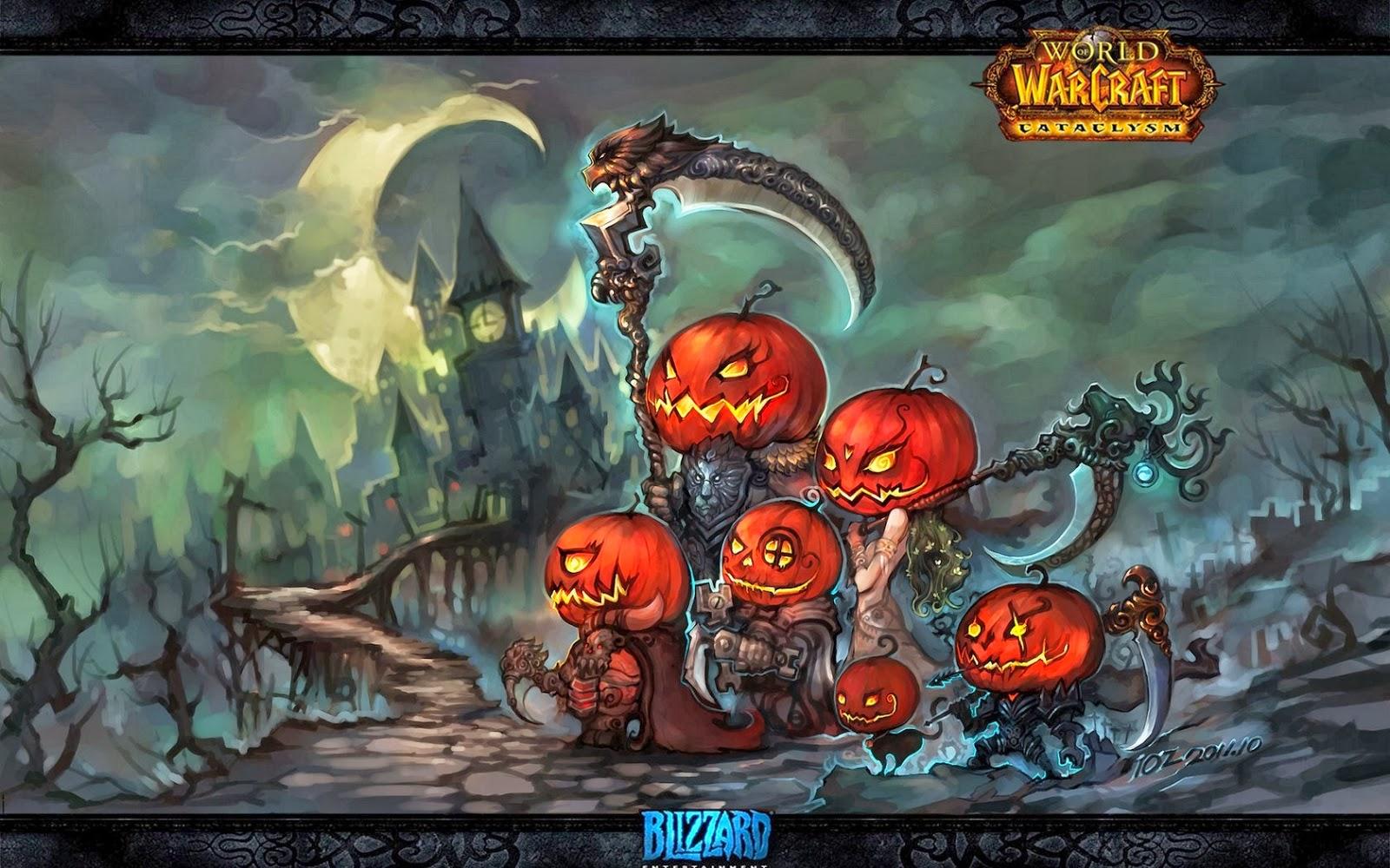 World Of Warcraft Pumpkin Head Death Scythe Halloween Holiday HD Wallpaper W2