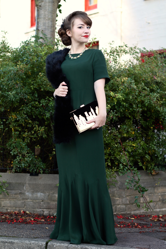 ASOS 30s style green maxi dress with fur stole and Vendula London New York clutch