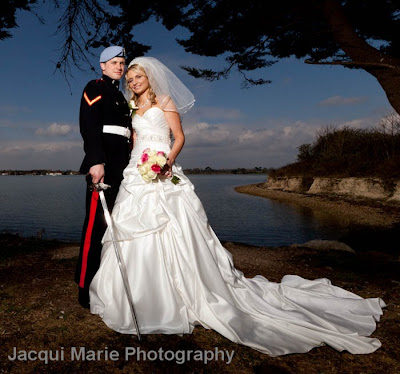 bride, groom, portrait, hayling island, hampshire, wedding, wedding dress, military