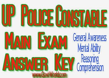 UP Police Constable Main Exam Answer Key 2014