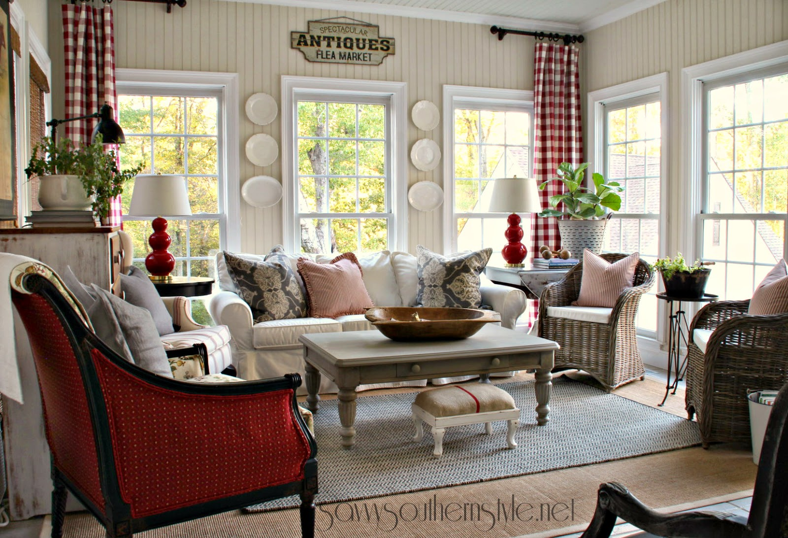 Savvy southern style new red gray additions in the sun room for Southern style living room ideas