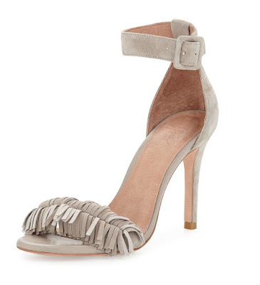 Joie light gray bare there high heeled sandals with fringe at peep toe area