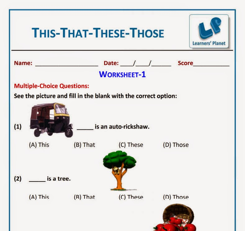 ... This That These Those Worksheet for grade 1 kids ~ Learners Planet