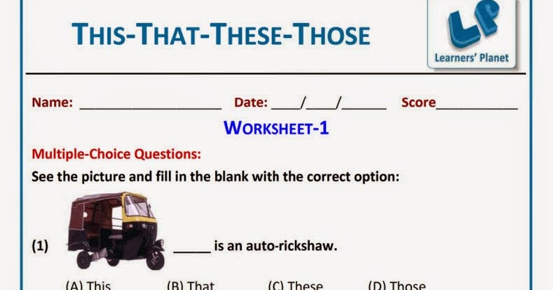 English This That These Those Worksheet for grade 1 kids ...