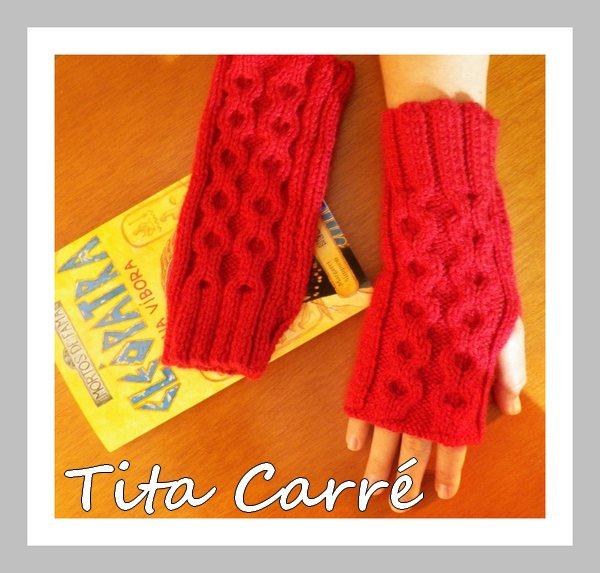 Luvas sem dedo em tricot com Cléopatra