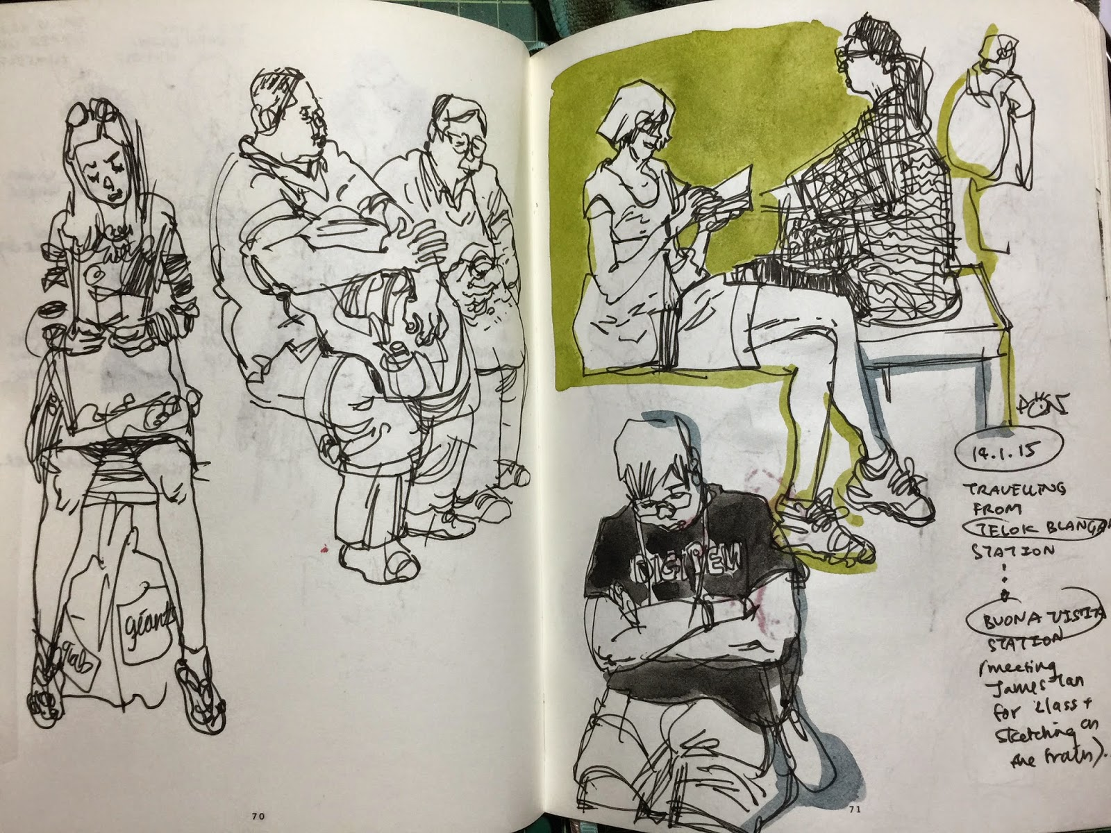 Sketching people on the train, traffic crossing and coffeeshop ...