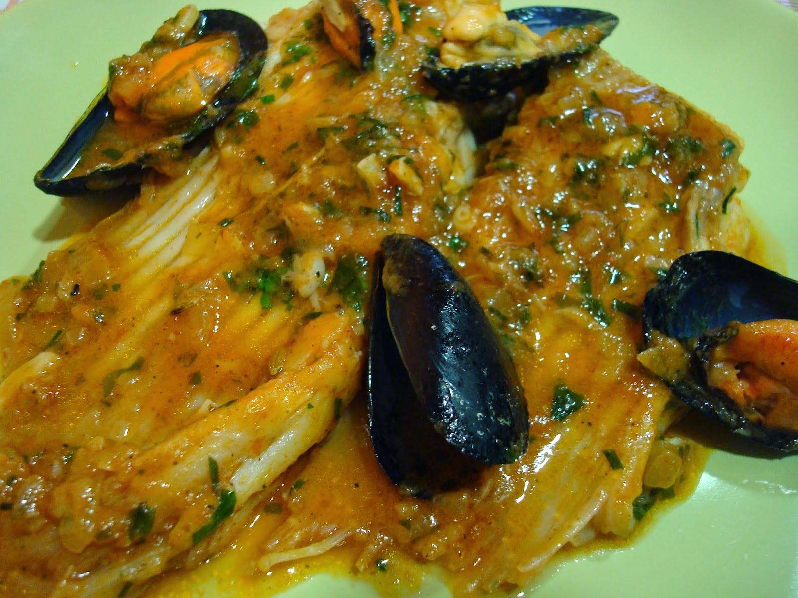 receta de raya en salsa con mejillones y aceite aromático