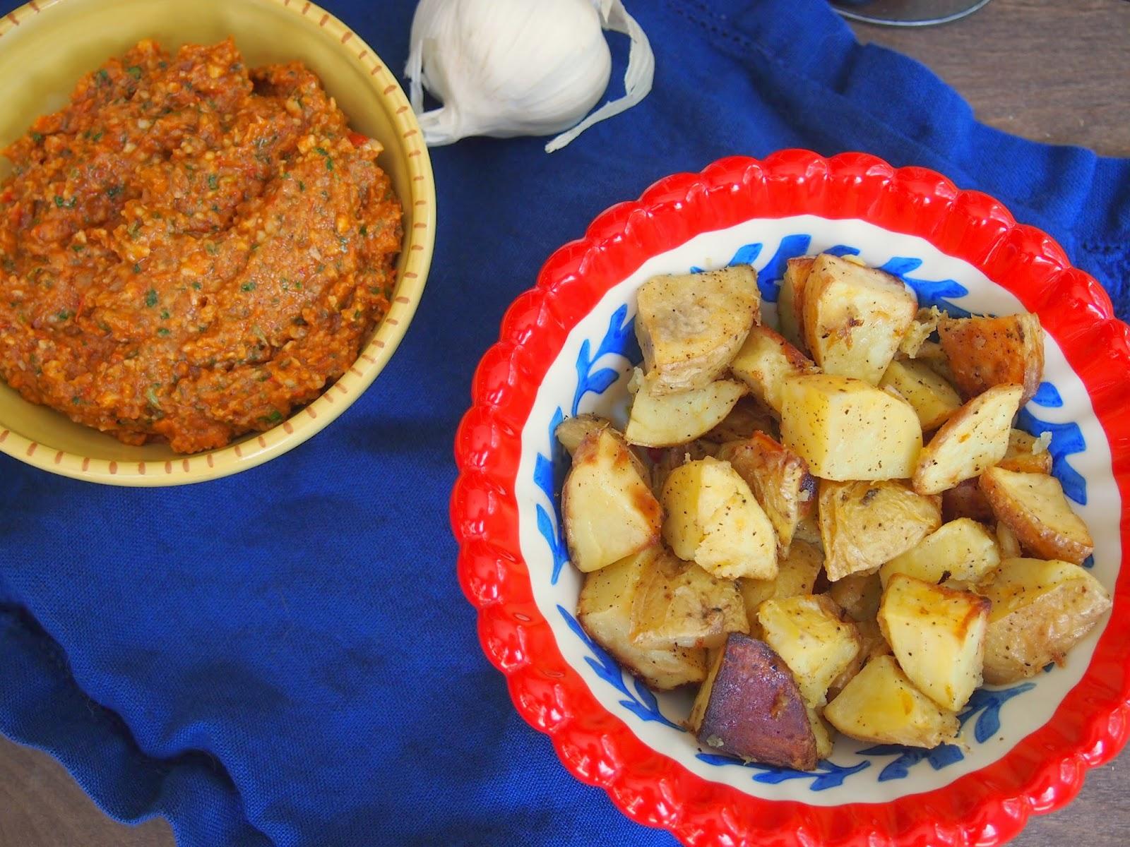 Roasted potatoes with romesco sauce