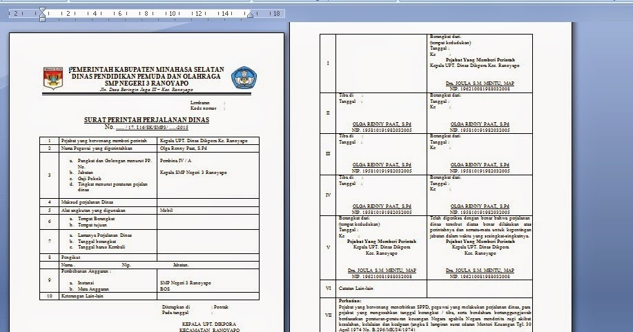 Contoh Surat Perintah Perjalanan Dinas Sekolah (SPPD) - JACKSEN ...