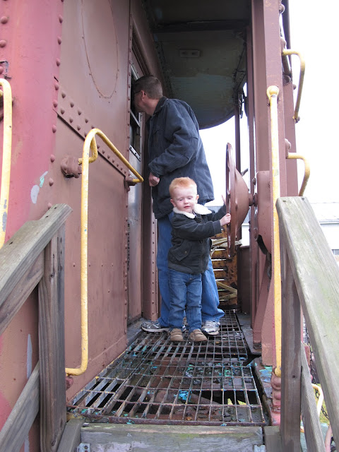 Porter & Daddy Checking Out an Old Train