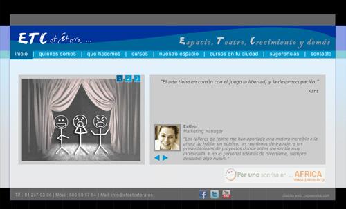 página web de ETC etcétera ... Espacio, Teatro, Crecimiento y demás: Cursos y talleres de teatro, teatro para divertirse, teatro terapéutico, terapia gestalt, interpretación para cine, teatro para empresas...