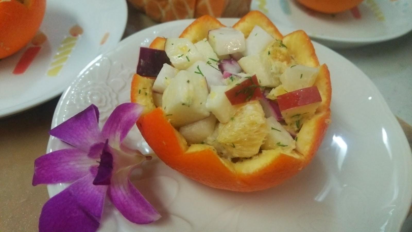 川崎市・蒲田/多摩川の出張シェフ:柑橘のファルシ 冬野菜のサラダ仕立て