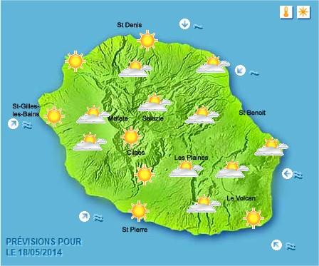 Prévisions météo Réunion pour le Dimanche 18/05/14