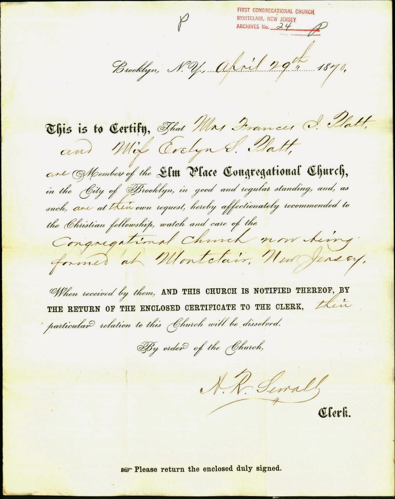 History Of First Congregational Church Montclair Nj Letter Elm