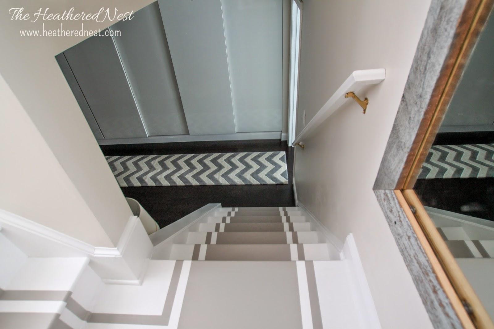 dark basement stairs. Fine Basement Painted Stripe Stairway Runner  Brightened Up Basement Makeover In Dark Stairs