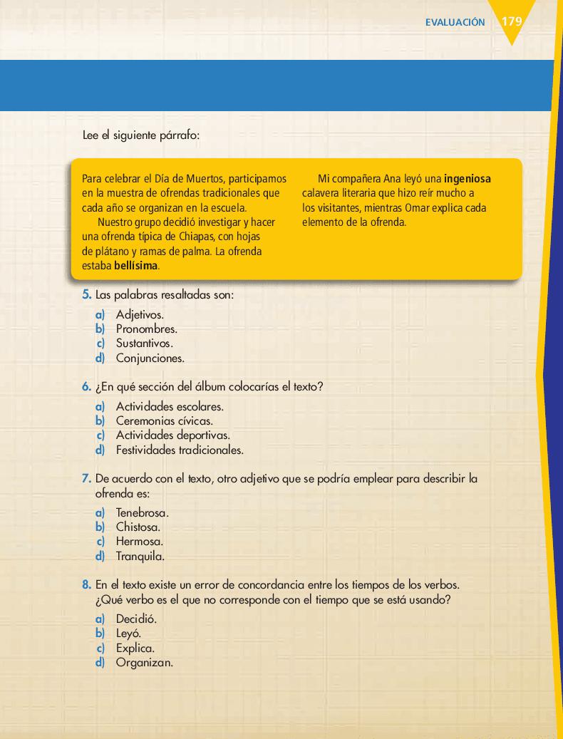 Evaluación - Español 6to Bloque 5to 2014-2015