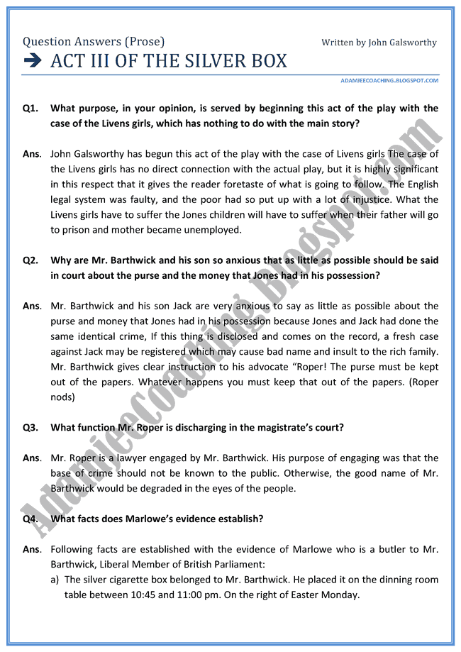 English XII - Act III of the Silver box - Question Answers Prose