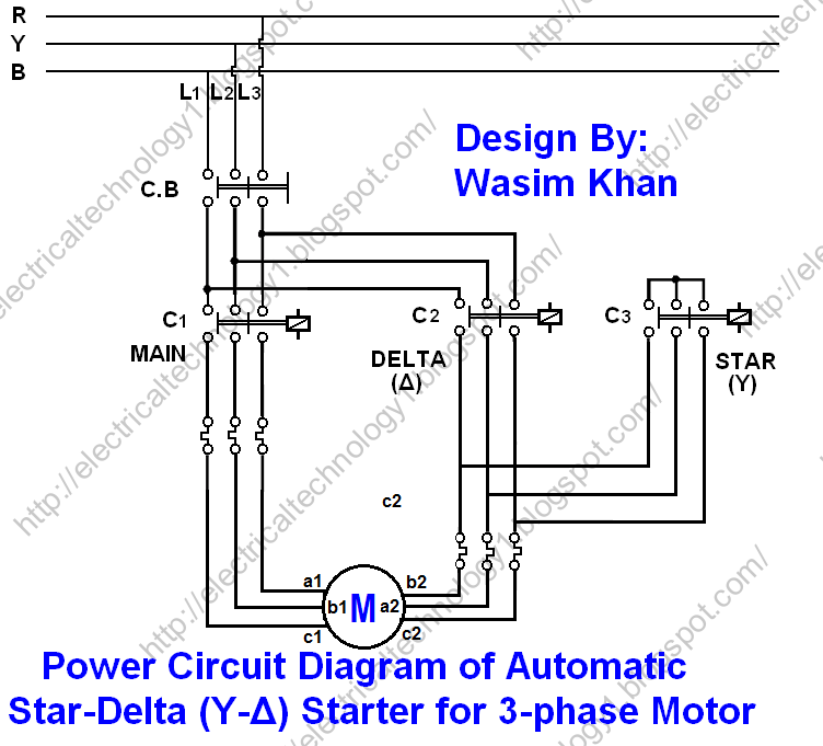power circuit diagrame of 3-phase Automatic star-delta starter with Timer.