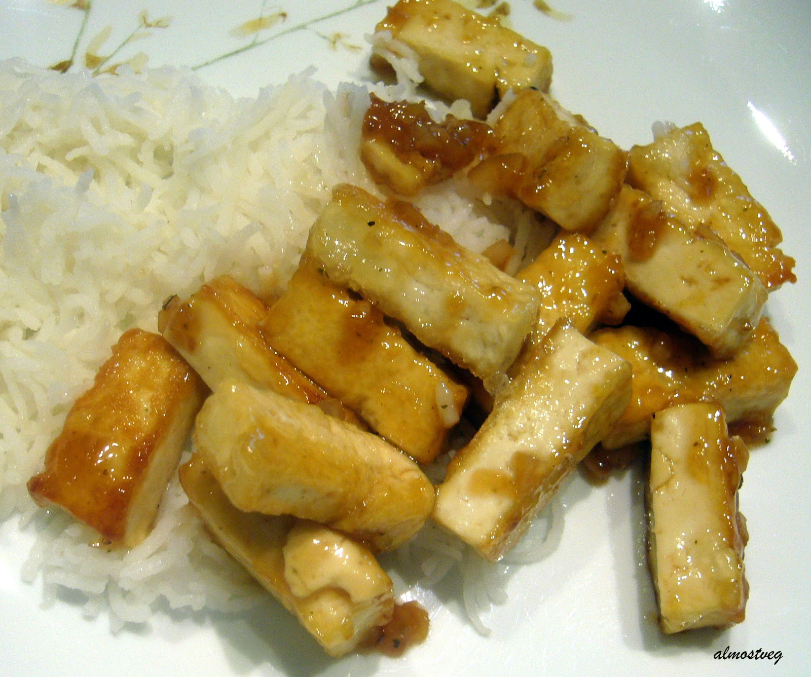 almostveg: Pan fried tofu with a lemon soy glaze