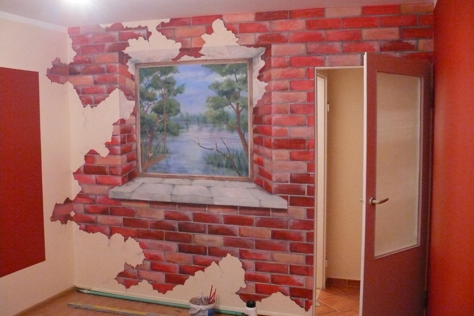 Artystyczne malowanie ściany, malowanie widoku z okna