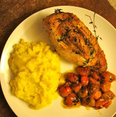 roast chicken with rosemary, mashed potatoes, and cherry tomatoes