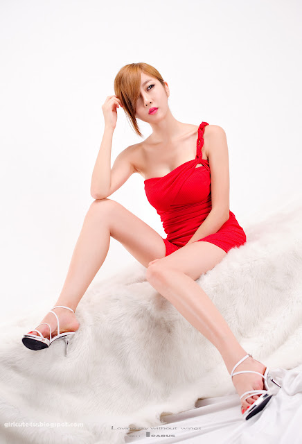 Choi-Byul-I-One-Shoulder-Red-Dress-04-very cute asian girl-girlcute4u.blogspot.com