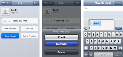 Kirim vCard iPhone